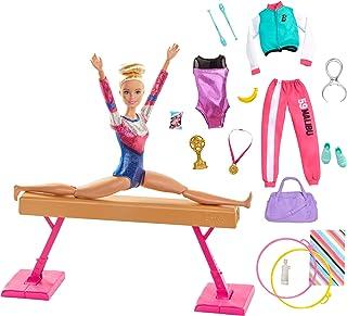 Barbie Métiers coffret poupée Gymnaste blonde en justaucorps avec poutre et accessoires, jouet pour enfant, GJM72
