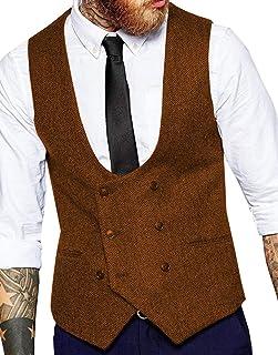 JinXuanYa Men's Suit Vest Slim Fit Casual Notch Lapel Wool Herringbone Plaid Waistcoat for Wedding Party Groomsmen