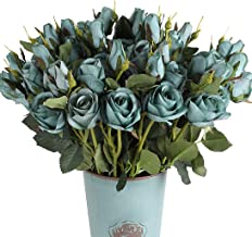 Blooming Paradise 4Pcs Artificial Fake Flower with 3Heads Silk Rose Arrangements Wedding..
