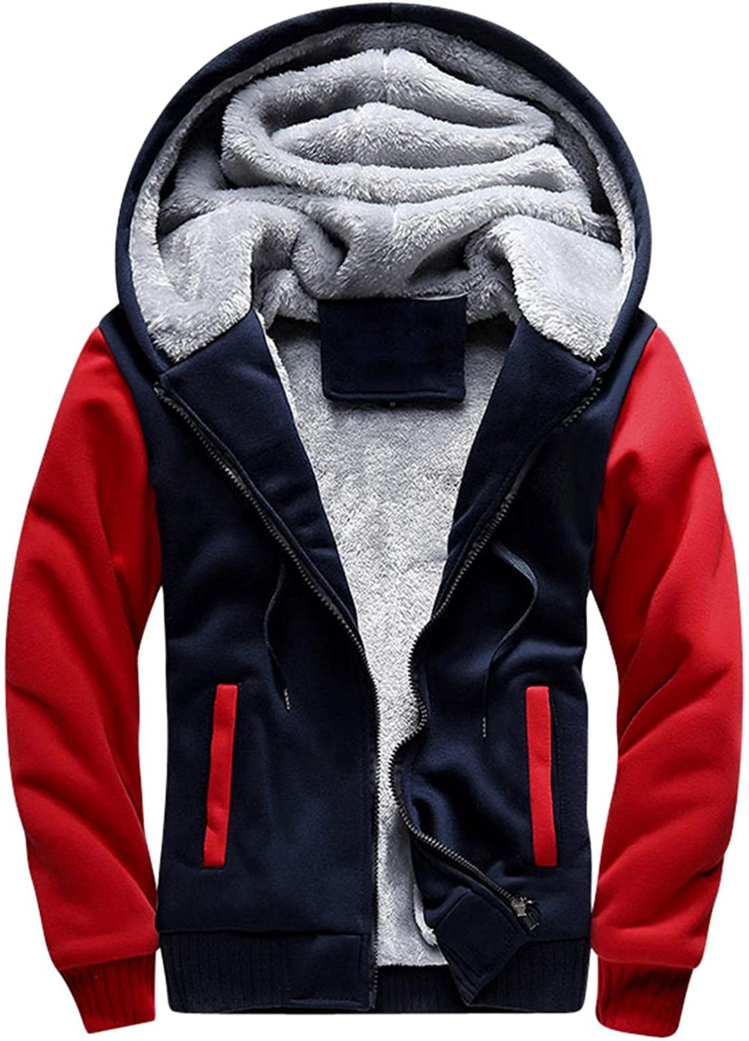 Beppter Sherpa Hoodies for Men Heavyweight Fleece Hooded Sweatershirts Outwear Thicken Thermal Fluffy Fuzzy Jackets Coats