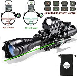 XopingABC Hunting Rifle Scope Combo C4-16/12x50EG Dual Illuminated with Green Laser Sight 4 Holographic Reticle Red/Green Dot for Weaver/Rail Mount