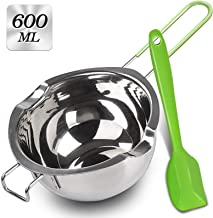 Double Boiler with Silicone Spatula, 600ml Stainless Steel Melting Pot with Heat Resistant Handle for Melting Chocolate, C...