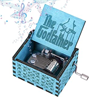 Imncya Aphei The Godfather Music Box, Hand Crank Retro Carved Antique Wooden God Father Theme Musical Box Gifts for Him Dad Brother Husband Boyfriend, Cool Gadget Christmas Stocking Stuffer(Blue)