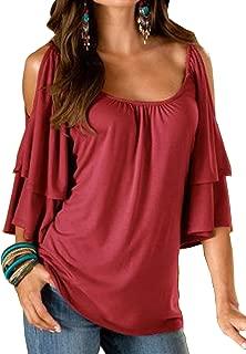 Merryfun Women's Summer Cold Shoulder Ruffle Sleeve Loose Stretch Tops Tunic Blouse Shirt