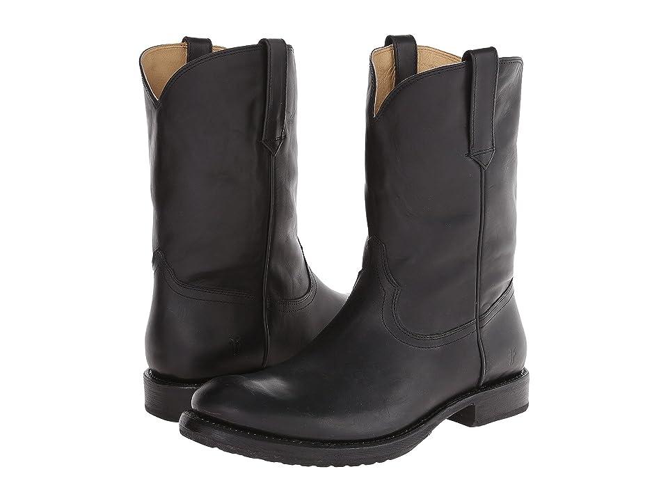 Frye Duke Roper (Black Washed Smooth Vintage) Cowboy Boots