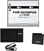 UltraPro LI-50B High-Capacity Replacement Battery w/Rapid Dual Charger for Select Olympus Cameras - UltraPro Bundle Includes: Deluxe Microfiber Cleaning Cloth