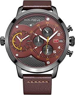 Men Sports Dual Time Watches, Big Dial Casual Leather Band Waterproof Dress Wrist Watch with Date Calendar
