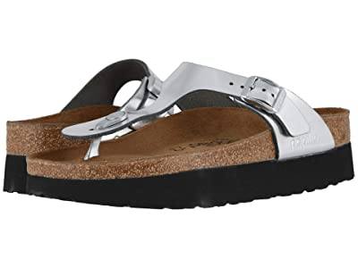 Birkenstock Gizeh Platform by Papillio (Metallic Silver Leather) Women