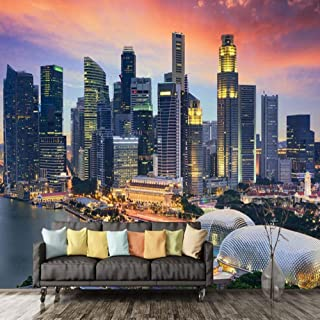 Wall Mural 3D Non-Woven Photo Wallpaper Singapore City Building Night View Mural Living Room Office Backdrop Wall Decor Modern Fresco-200x140cm(Customizable Size)