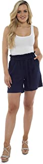 Pantalones Cortos Paperbag para Mujeres, Traje De Verano | Pantalones De Tiro Alto De Cintura Alta con Pliegues Y Bolsillos | Tallas De La 38 A La 52