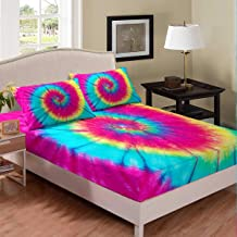 Pillowcases Flat Twin XLong 12 Color Rainbow Tie Dye Bedding Sheet Set; Fitted