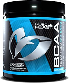 MUSCLE FEAST Vegan BCAA Powder 4:1:1 Ratio, Keto Friendly, Sugar Free, Post Workout Recovery, 36 Servings (300 Gram, Blue ...
