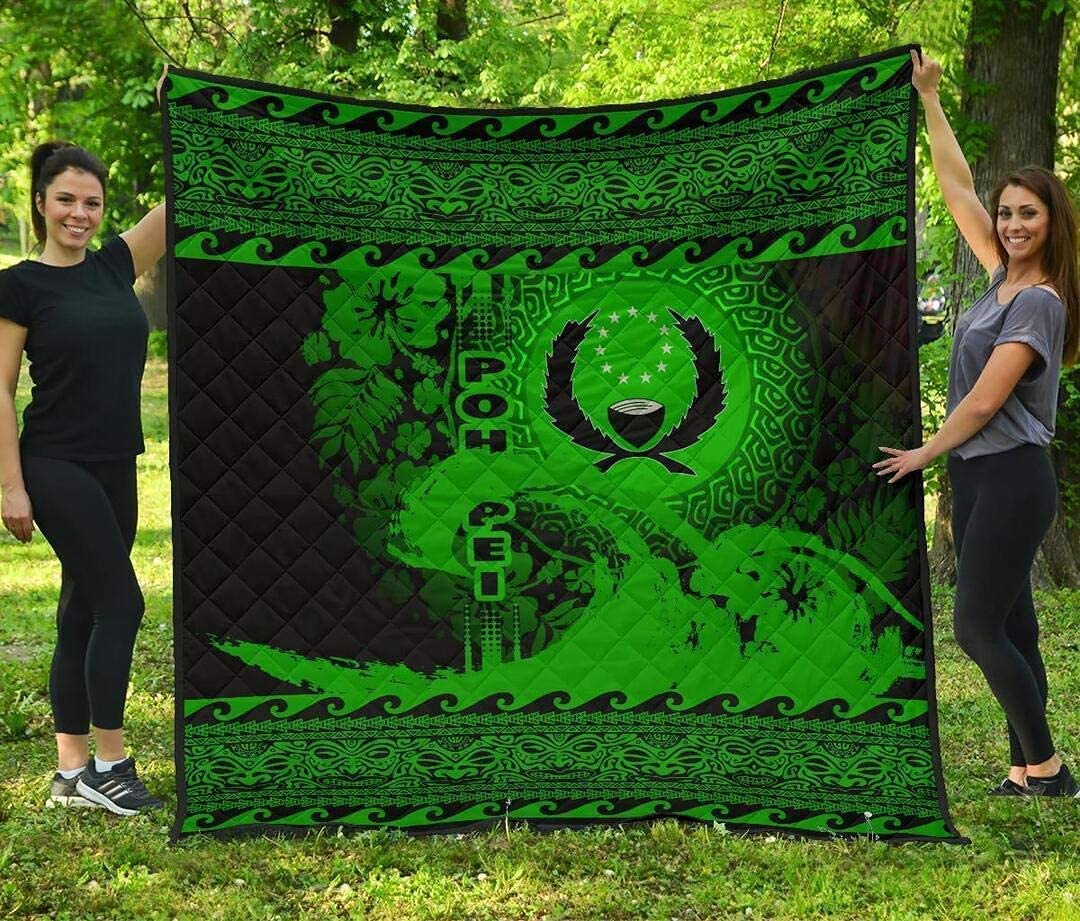 PITTI Wave Green Design Pohnpei Quilt Da NEW Funny Mom to - sale My