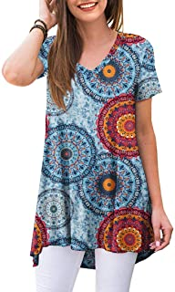 Sponsored Ad - POPYOUNG Women's Summer Casual T-Shirt V-Neck Short Sleeve Tunic Tops for Leggings Loose Blouse Shirt