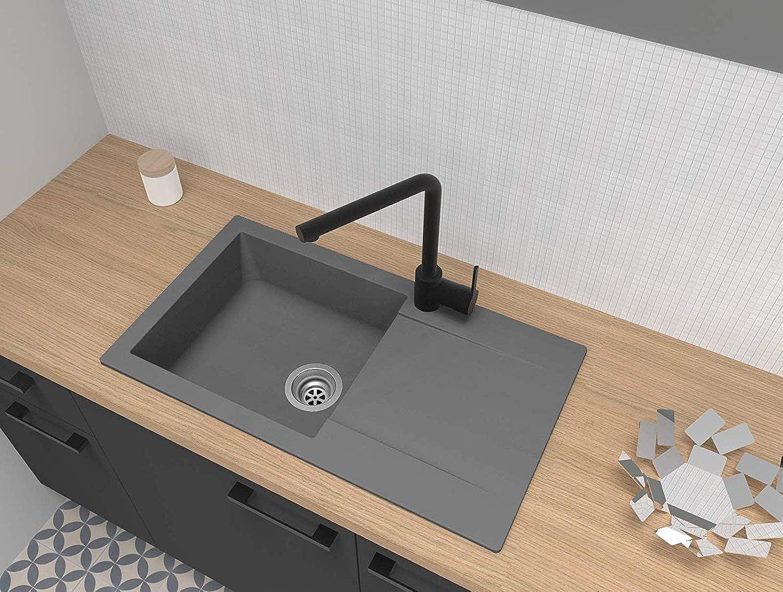 Respekta Spüle Küchenspüle Einbauspüle Granit Spülbecken Mineralite 78 x 44 grau