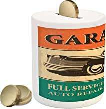 Lunarable Vintage Piggy Bank, Garage Retro Poster with Classic Car Automobile Mechanic Nostalgic 50s, Ceramic Coin Bank Money Box for Cash Saving, 3.6