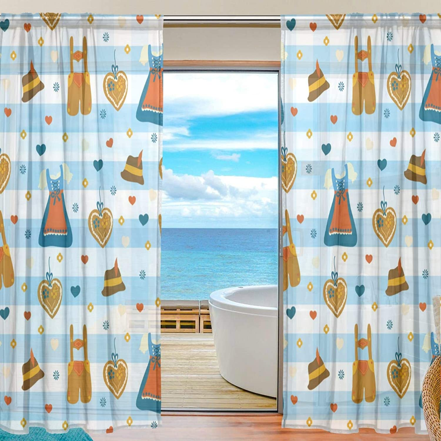 bluee and White Plaid Clothing 2 Pieces Curtain Panel 55 x 78 inches for Bedroom Living Room