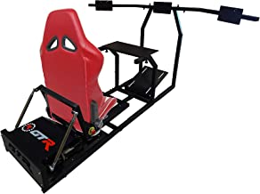GTR Simulator - GTM Motion Cockpit w/Real Racing Seat for Racing Simulator Flight Simulator & Driving Simulator Games. Includes Triple Monitor Mounts (Black Frame + Red w/White Striped Gaming Chair)