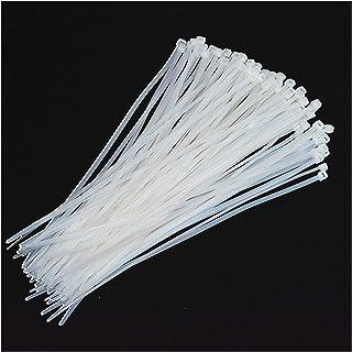 Corbata de cabello de nylon, olor de plástico de auto-lavado corbata de nylon 100 piezas, tíbida de cable blanco. Jsmhh (S...