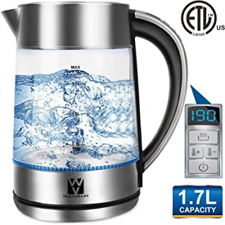 Vestaware Electric Kettle Glass Temperature Control, 1.7L Tea Kettle Cordless with LED Blue Light, Water Kettle Electric with Auto Shut-Off, Keep-Warm Function