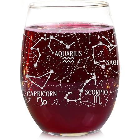 4.3-Inch Constellation Yellow Scorpio Art Collection Big Glassware for Man Women Boys Girls Glass Gift