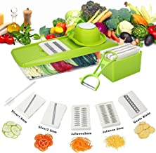 Godmorn Multi-function Food Slicer, Mandoline Vegetable Slicer, Fruit and Cheese Cutter, 5 Interchangeable Blades + Food Container + Safety Food Holder + Butting Board + Peeler + Cleaning Brush + Blade Storage Box, Best for Carrot, Cucumber, Cheese, Onions, Tomato, Potato and Zucchini