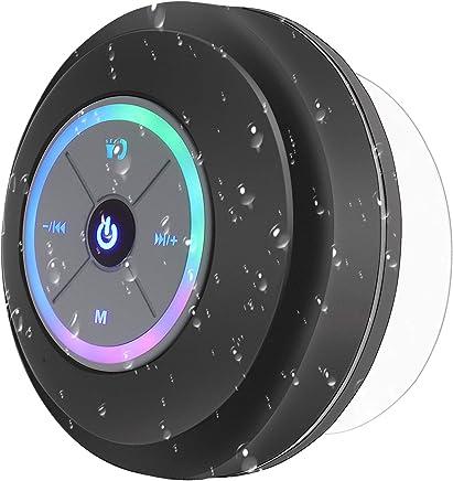 PEYOU Altavoz Bluetooth Ducha, Mini Bluetooth Altavoz Impermeable con Ventosa y LED [Manos Libres y micrófono] [6h de Tiempo de Juego] Compatible para iPhone, iPad, Samsung, Huawei