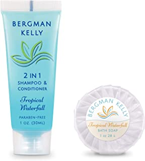 BERGMAN KELLY Round Soap Bars, 2in1 Shampoo & Conditioner 2-Piece Set (Tropical Waterfall, 1 oz each, 100 pc), Delight Your Guests with Revitalizing & Refreshing Travel Toiletries & Hotel Amenities