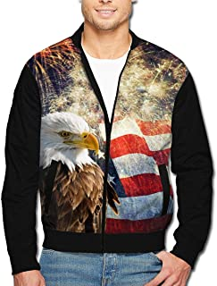 Men's Bomber Jacket American Flag Eagle Fireworks Front Print Casual Lightweight Full-Zip Jacket Coat with Pockets