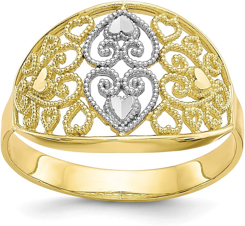 10k Yellow gold Filigree Heart Ring for Women Size 6
