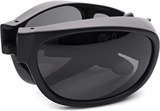 Folding Fitover Sunglasses with Polarized Lenses, Leather Case and Microfiber Cloth (Matt Black, Smoke)