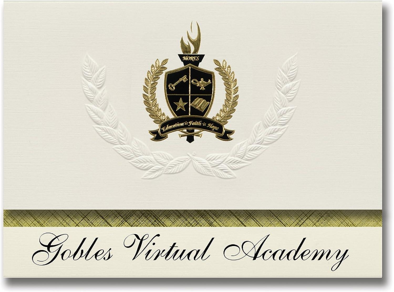 Signature Ankündigungen gobles Virtual Academy (gobles, mi) Graduation Ankündigungen, Presidential Stil, Elite Paket 25 Stück mit Gold & Schwarz Metallic Folie Dichtung B078TSYQDR  | Erste Gruppe von Kunden