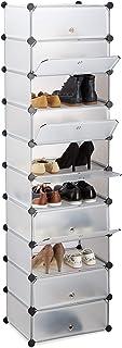 Relaxdays 10021963 Meuble chaussures rangement 10 casiers plastique chaussures modulable DIY HxlxP: 176x49x37 cm, transparent