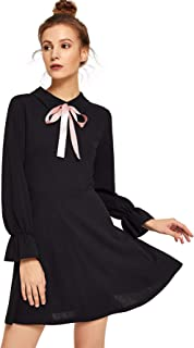 DIDK Women's Cute Tie Neck Bell Sleeve A Line Flared Stretchy Solid Short Dress