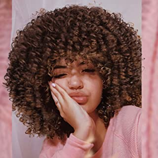Lativ Afro Wig for Women Curly Wig with Bangs Short Brown Curly Synthetic Heat Resistant Hair Afro Curly Bangs Wig for Bla...