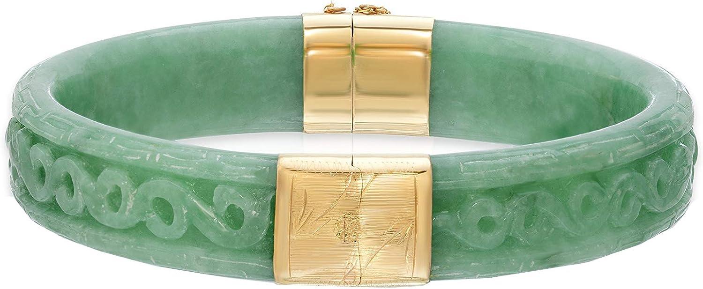 Regalia by Ulti Ramos 14K Yellow Gold Real Jade Hand Carved Bangle Bracelet