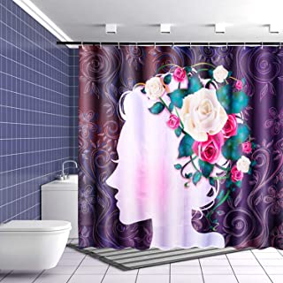UniTendo African American 3D Retro Style Print Waterproof Polyester Shower Curtain with 12 Hooks for Bathroom Decor,72 x 72 inches Girl with Flowers.