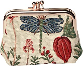 Fashion Tapestry Double Clasp Metal Frame Purse (Floral)