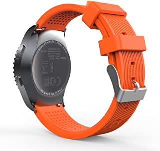 MoKo Band Compatible with Samsung Gear S2 Classic/Galaxy Watch 42mm/Galaxy Watch Active/Active 2/Garmin Vivoactive 3/Ticwatch E/2/Huawei Watch GT 42mm, 20MM Soft Silicone Watch Strap - Orange