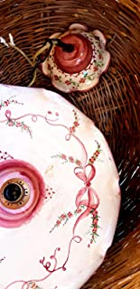 Lampadario diametro 45 centimetri Linea Fiocco Rosa Ceramica Le Ceramiche del Castello Pezzo Unico Handmade Made in Italy ...
