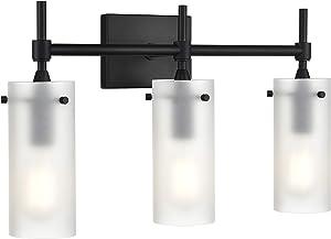 Effimero 3 Light Bathroom Vanity Light | Black Hallway Wall Sconce, Frosted Glass Shades LL-WL33-FRST-5BLK