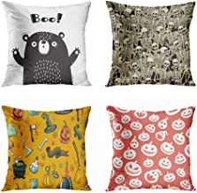 Janyho Set of 4 Throw Pillow Covers Square Bear Who Shouts Boo Fun Skeletons Eps8 RGB Halloween Doodle Style Spooky Home Sofa Bedroom Cushion Cases Polyester Pillowcase 16x16 Inch
