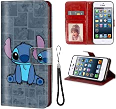 Phone Wallet Case Fit for iPhone SE (2016) or iPhone 5 (2012) or iPhone 5S (2013) [5.5 Inch] Stitch Tvshow Comics Cute Wallpaper Movies Ca Cartoon ID Compartment