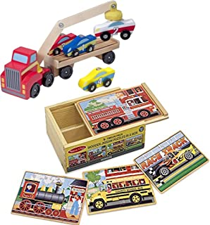 Melissa & Doug Bundle Includes 2 Items Magnetic Car Loader Wooden Toy Set with 4 Cars and 1 Semi-Trailer Truck Vehicles 4-in1 Wooden Jigsaw Puzzles in a Storage Box 48 pcs