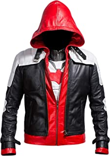 Lasumisura Replica Style Red Hood Men`s Faux Leather Jacket + Vest
