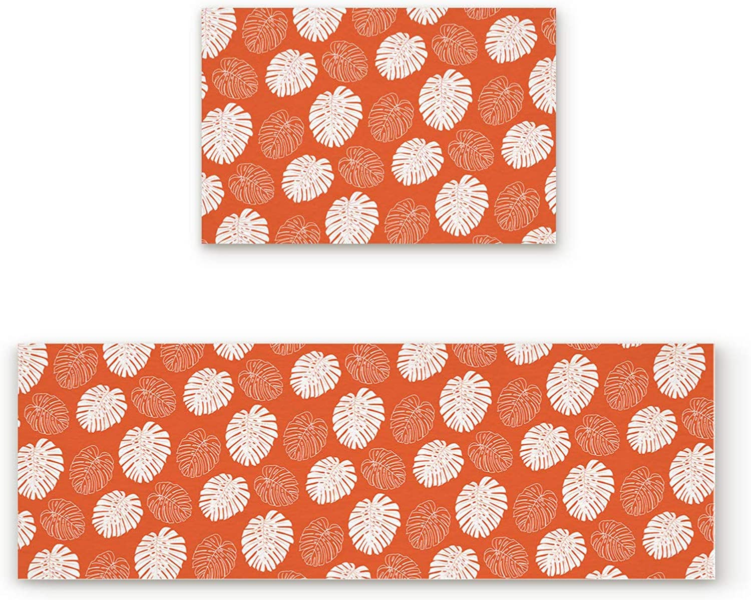 SODIKA 2 Pieces Kitchen Rug Set,Non-Skid Slip Washable Doormat Floor Runner Bathroom Area Rug Carpet,Tropical Plant Leaves orange White (19.7x31.5in+19.7x63 inches)