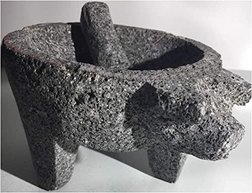 """popular Made in discount Mexico Piggy Cerdo outlet sale Puerco Genuine Mexican Manual Guacamole Salsa Maker Volcanic Lava Rock Stone Molcajete/Tejolote Mortar and Pestle Herbs Spices Grains 8"""" Large Pig sale"""