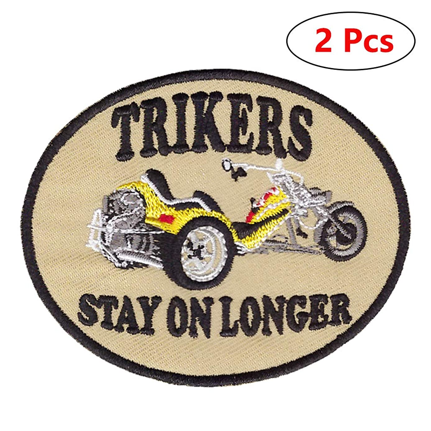 Retro Car Patches Funny Punk Rock Badge Art Embroidered Applique Iron on or Sew on Patches for Jackets Backpacks Clothes Hat (2Pcs)