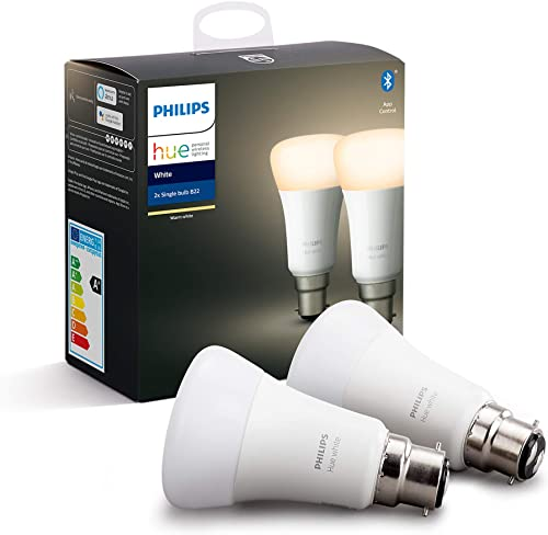 Philips Hue White Smart Bulb Twin Pack LED [B22 Bayonet Cap] with Bluetooth, Compatible with Alexa and Google Assistant