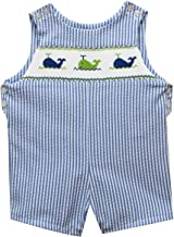 BETTI TERRELL Whales Embroidered Blue Stripe Boys Shortall